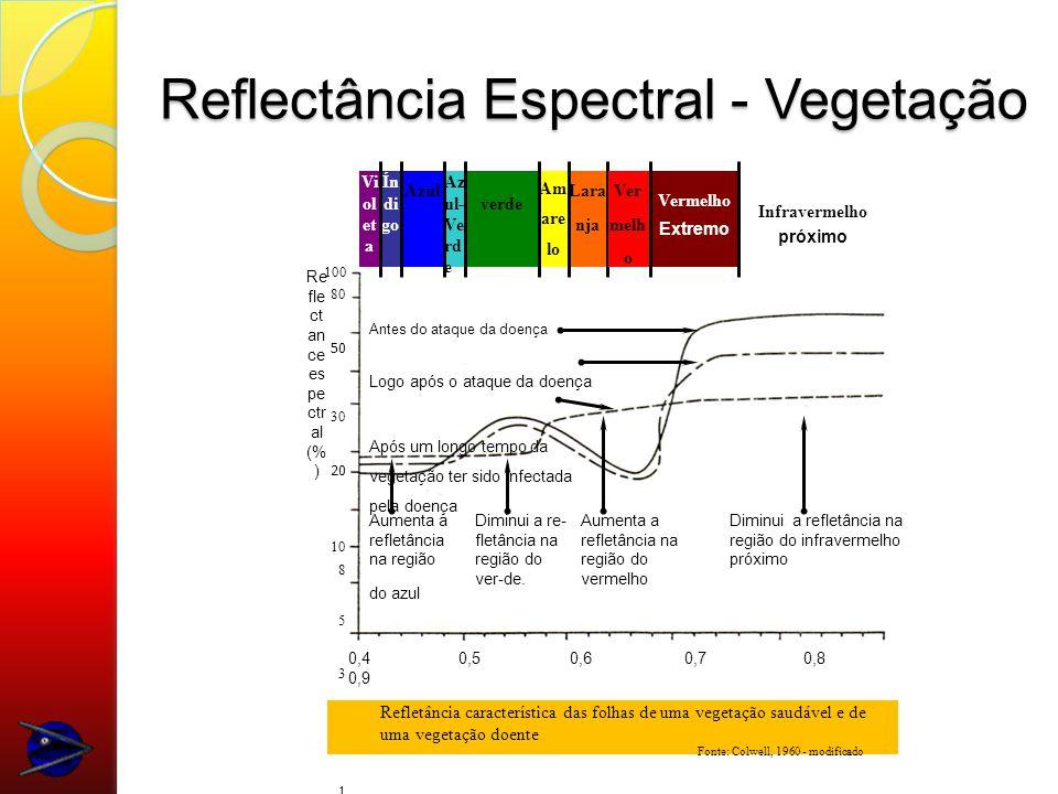 Reflectância Espectral - Vegetação 100 80 50 30 20 10 8 5 3 2 1 Vi ol et a Ín di go Azul Az ul- Ve rd e Vermelho Extremo Infravermelho próximo Am are lo verde Ver melh o Lara nja 0,4 0,5 0,6 0,7 0,8 0,9 Comprimento de onda ( m) Re fle ct an ce es pe ctr al (% ) Antes do ataque da doença Logo após o ataque da doença Após um longo tempo da vegetação ter sido infectada pela doença Diminui a re- fletância na região do ver-de.