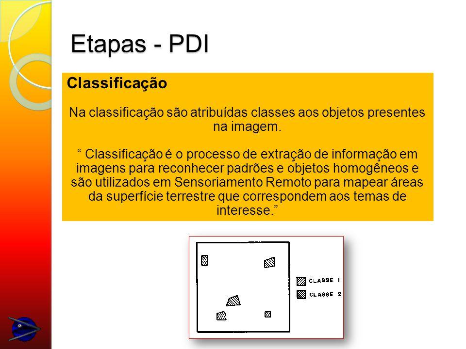 Etapas - PDI Classificação Na classificação são atribuídas classes aos objetos presentes na imagem.