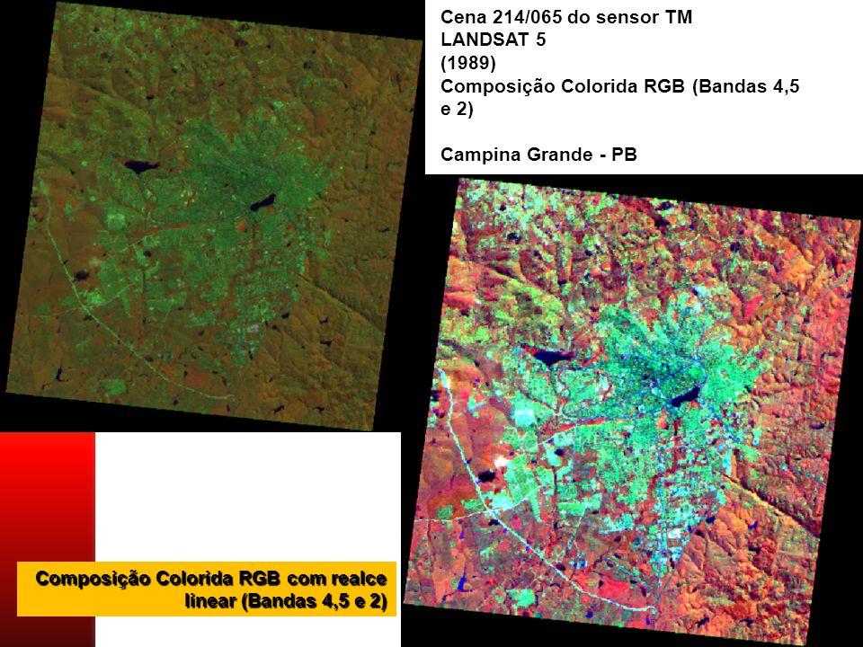 Cena 214/065 do sensor TM LANDSAT 5 (1989) Composição Colorida RGB (Bandas 4,5 e 2) Campina Grande - PB Composição Colorida RGB com realce linear (Bandas 4,5 e 2)