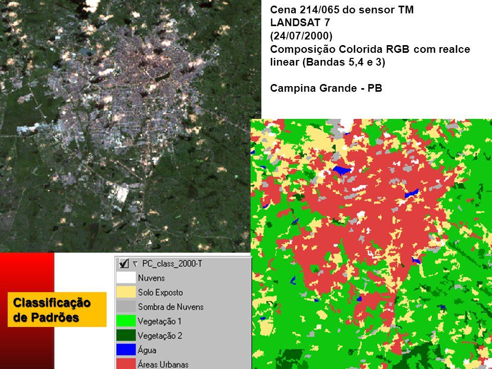 Cena 214/065 do sensor TM LANDSAT 7 (24/07/2000) Composição Colorida RGB com realce linear (Bandas 5,4 e 3) Campina Grande - PB Classificação de Padrões