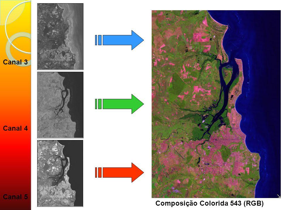 Canal 4 Canal 3 Canal 5 Composição Colorida 543 (RGB)