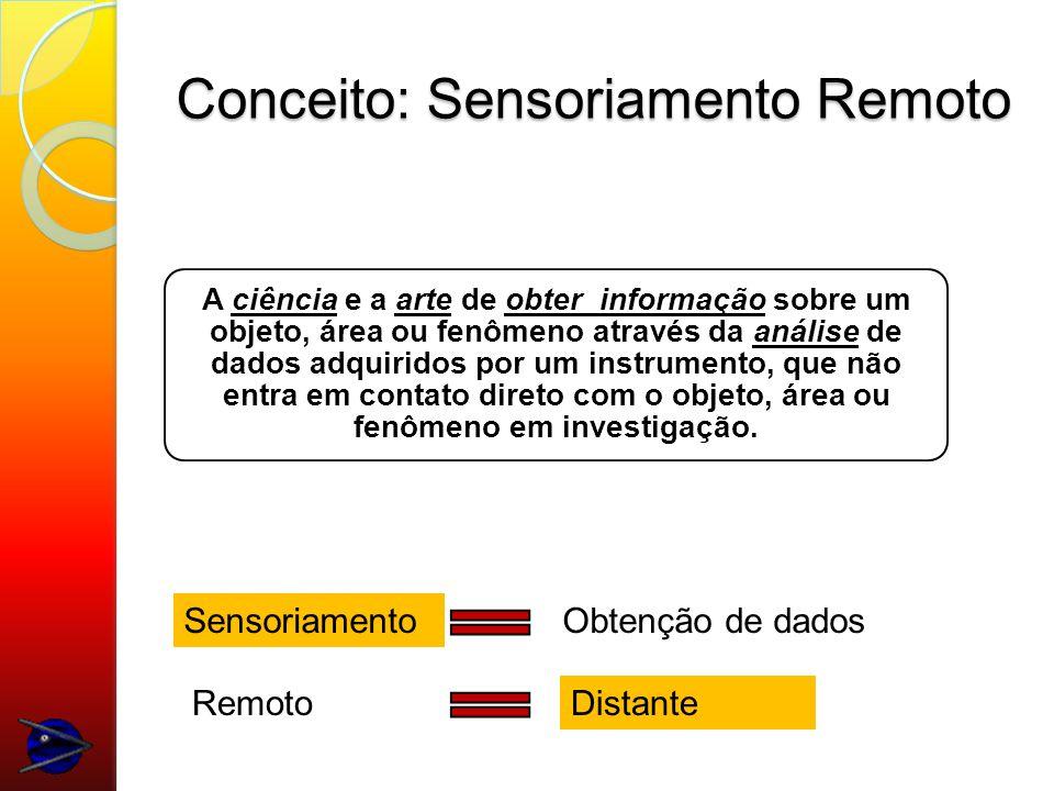 Conceito: Sensoriamento Remoto A ciência e a arte de obter informação sobre um objeto, área ou fenômeno através da análise de dados adquiridos por um instrumento, que não entra em contato direto com o objeto, área ou fenômeno em investigação.