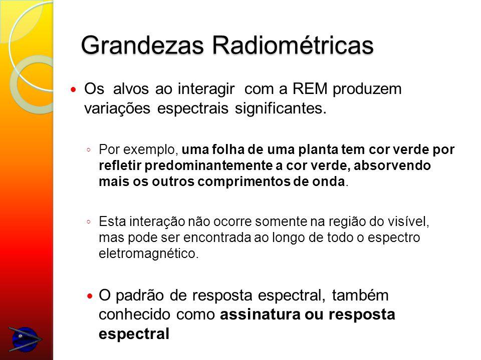 Grandezas Radiométricas Os alvos ao interagir com a REM produzem variações espectrais significantes.