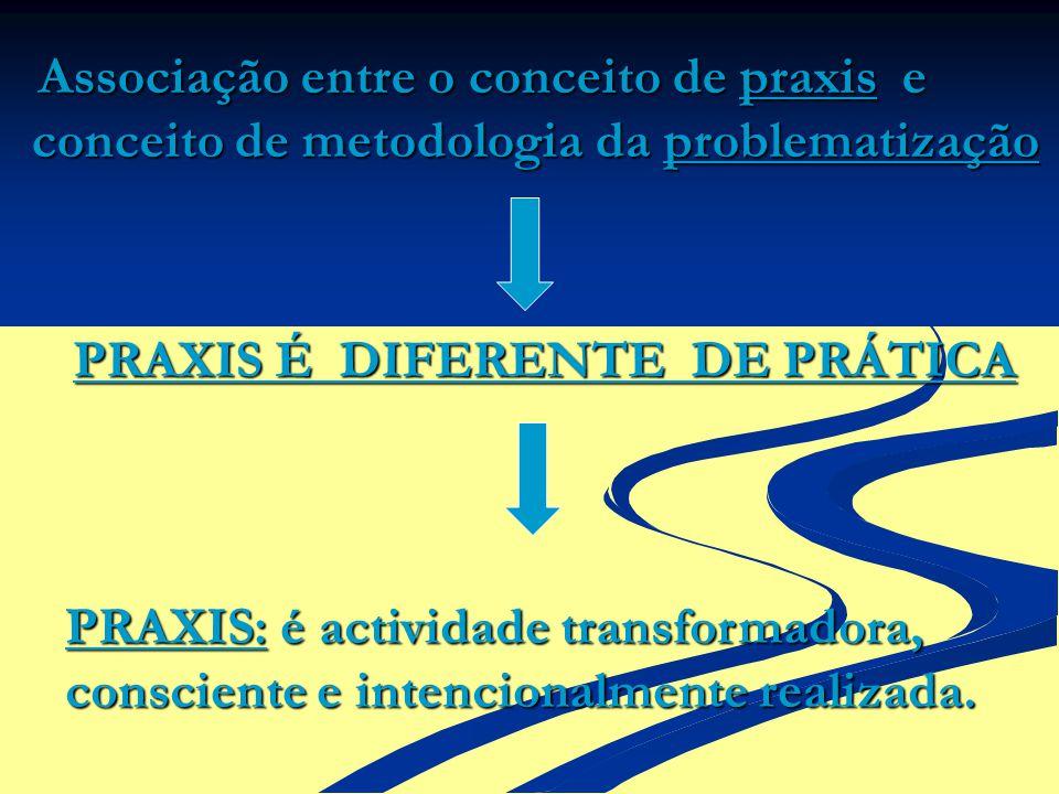 Associação entre o conceito de praxis e conceito de metodologia da problematização PRAXIS É DIFERENTE DE PRÁTICA PRAXIS: é actividade transformadora,