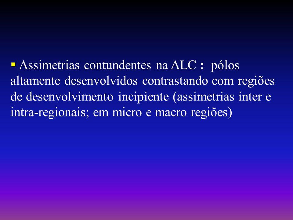 Assimetrias contundentes na ALC : pólos altamente desenvolvidos contrastando com regiões de desenvolvimento incipiente (assimetrias inter e intra-regionais; em micro e macro regiões)