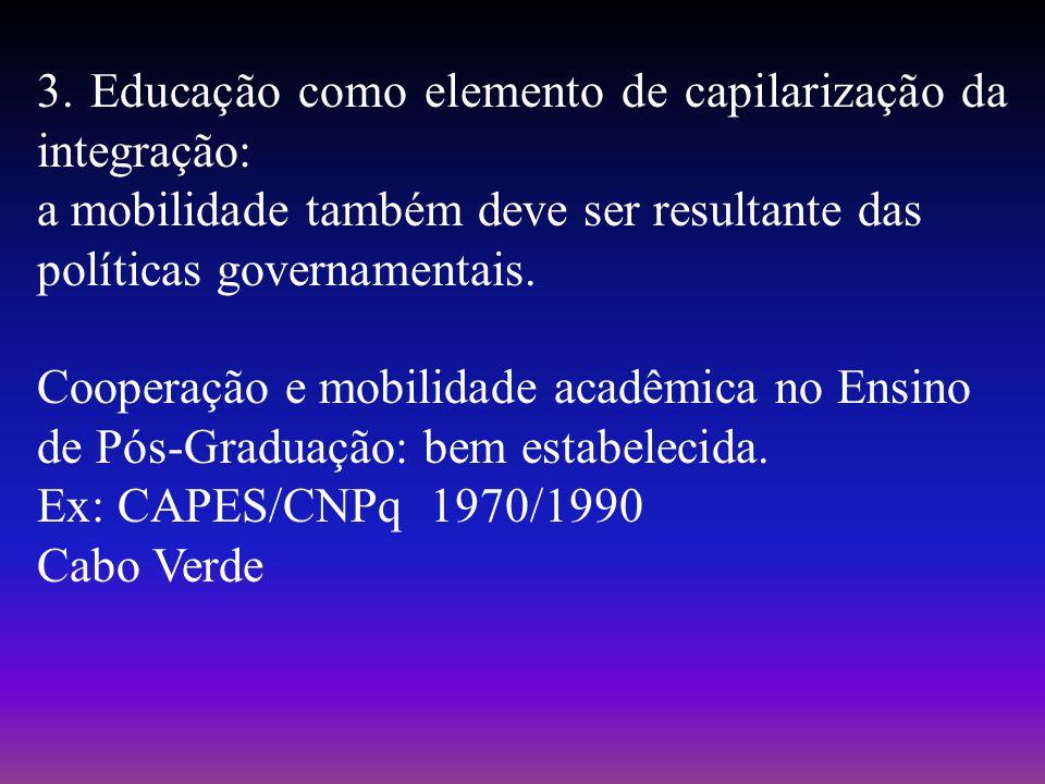 3. Educação como elemento de capilarização da integração: a mobilidade também deve ser resultante das políticas governamentais. Cooperação e mobilidad