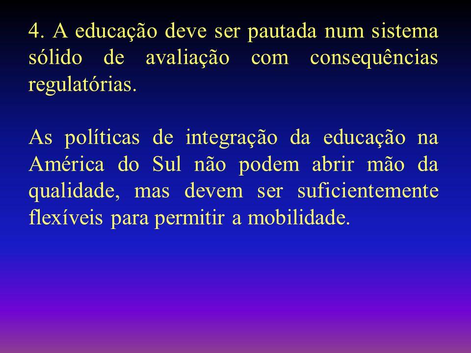 4. A educação deve ser pautada num sistema sólido de avaliação com consequências regulatórias.