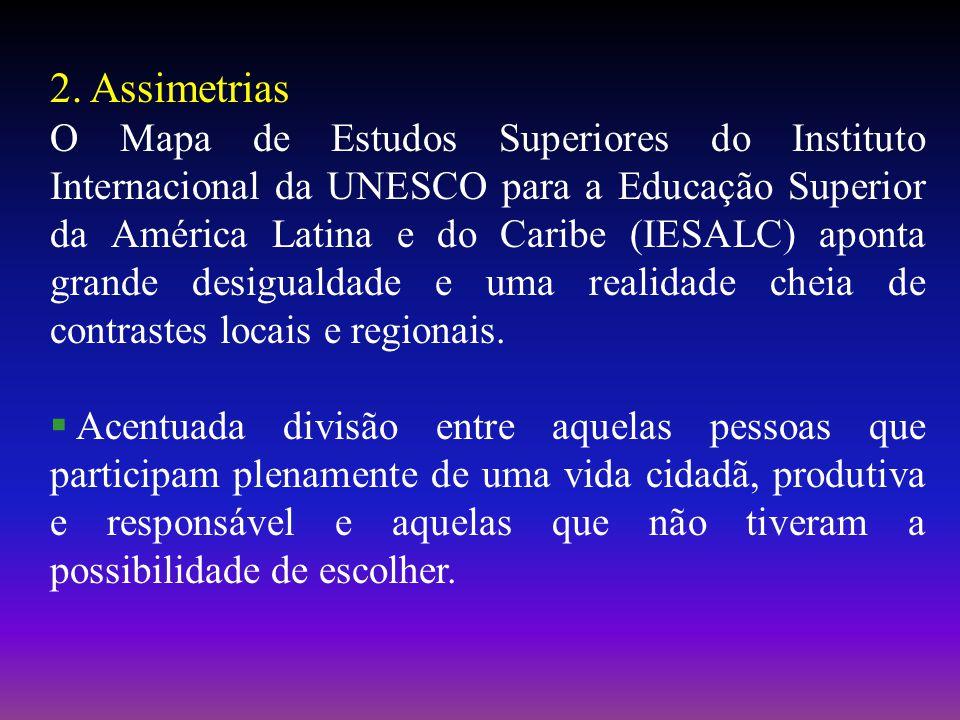 2. Assimetrias O Mapa de Estudos Superiores do Instituto Internacional da UNESCO para a Educação Superior da América Latina e do Caribe (IESALC) apont