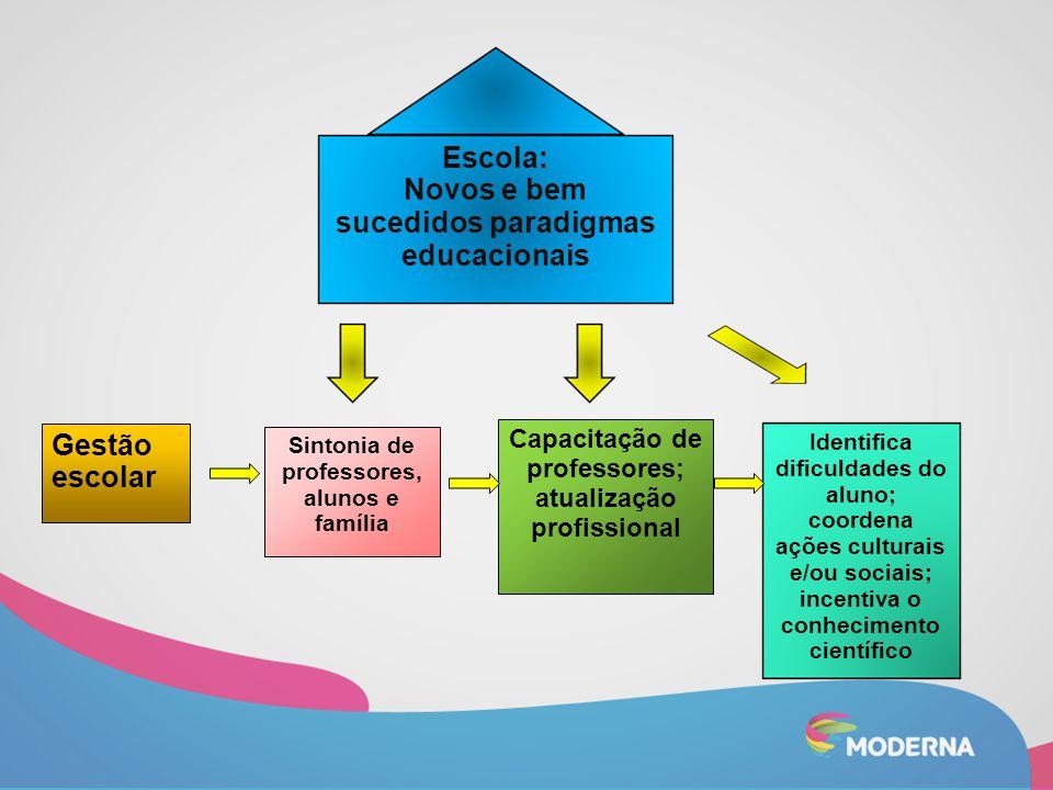 Escola: Novos e bem sucedidos paradigmas educacionais Gestão escolar Capacitação de professores; atualização profissional Sintonia de professores, alu