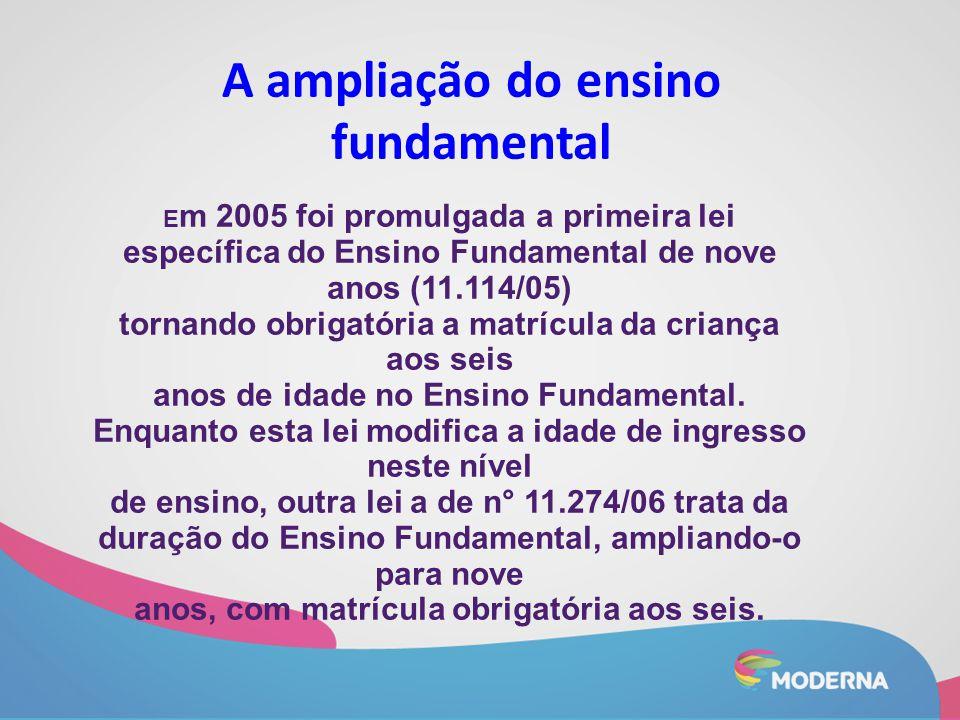 A ampliação do ensino fundamental E m 2005 foi promulgada a primeira lei específica do Ensino Fundamental de nove anos (11.114/05) tornando obrigatóri