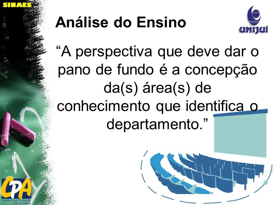 SINAES A perspectiva que deve dar o pano de fundo é a concepção da(s) área(s) de conhecimento que identifica o departamento.