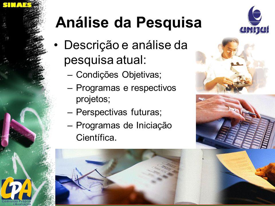 SINAES Análise da Pesquisa Descrição e análise da pesquisa atual: –Condições Objetivas; –Programas e respectivos projetos; –Perspectivas futuras; –Programas de Iniciação Científica.