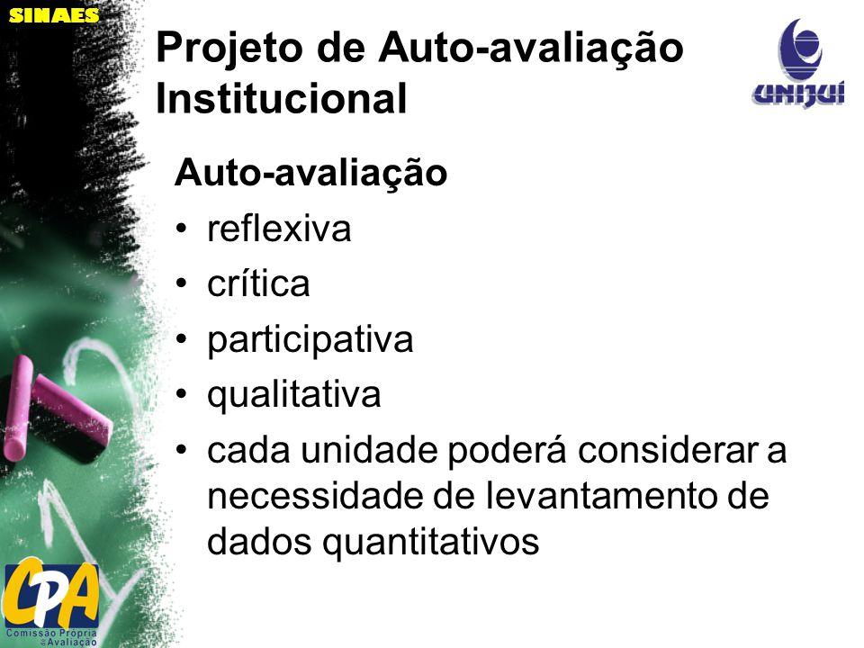 SINAES Projeto de Auto-avaliação Institucional Auto-avaliação reflexiva crítica participativa qualitativa cada unidade poderá considerar a necessidade de levantamento de dados quantitativos
