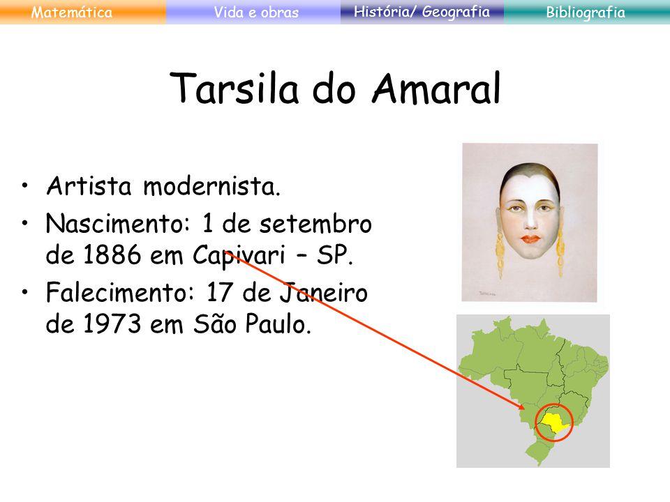 Tarsila do Amaral Artista modernista. Nascimento: 1 de setembro de 1886 em Capivari – SP. Falecimento: 17 de Janeiro de 1973 em São Paulo. MatemáticaV