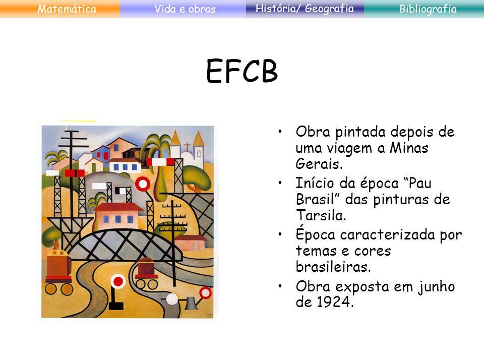 EFCB Obra pintada depois de uma viagem a Minas Gerais. Início da época Pau Brasil das pinturas de Tarsila. Época caracterizada por temas e cores brasi