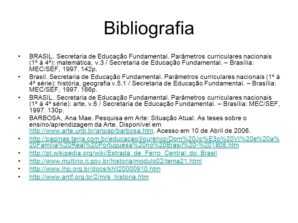 BRASIL. Secretaria de Educação Fundamental. Parâmetros curriculares nacionais (1ª à 4ª): matemática, v.3 / Secretaria de Educação Fundamental. – Brasí