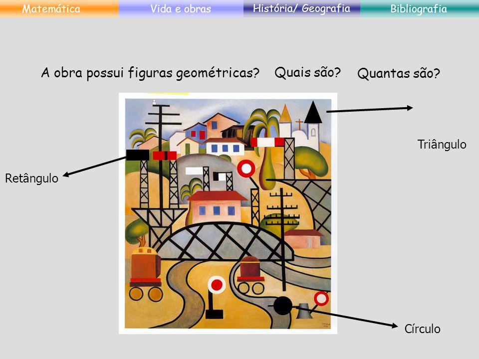 A obra possui figuras geométricas? Quais são? Quantas são? Retângulo Triângulo Círculo MatemáticaVida e obras História/ Geografia Bibliografia