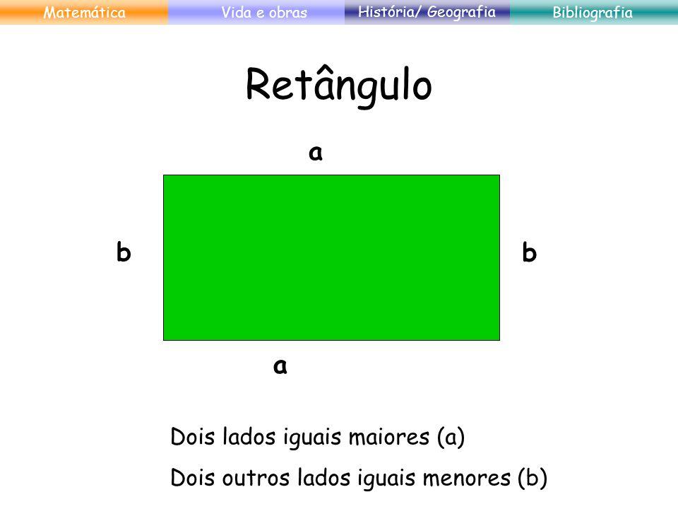 Quadrado a aa a 4 lados iguais. MatemáticaVida e obras História/ Geografia Bibliografia