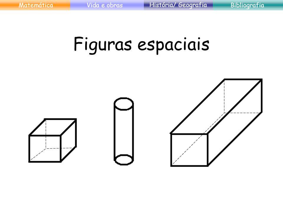 Tridimensionalidade (3D) Comprimento Largura Altura MatemáticaVida e obras História/ Geografia Bibliografia