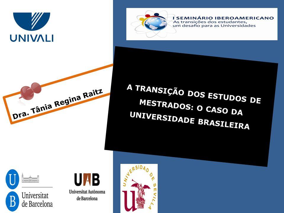 Dra. Tânia Regina Raitz A TRANSIÇÃO DOS ESTUDOS DE MESTRADOS: O CASO DA UNIVERSIDADE BRASILEIRA