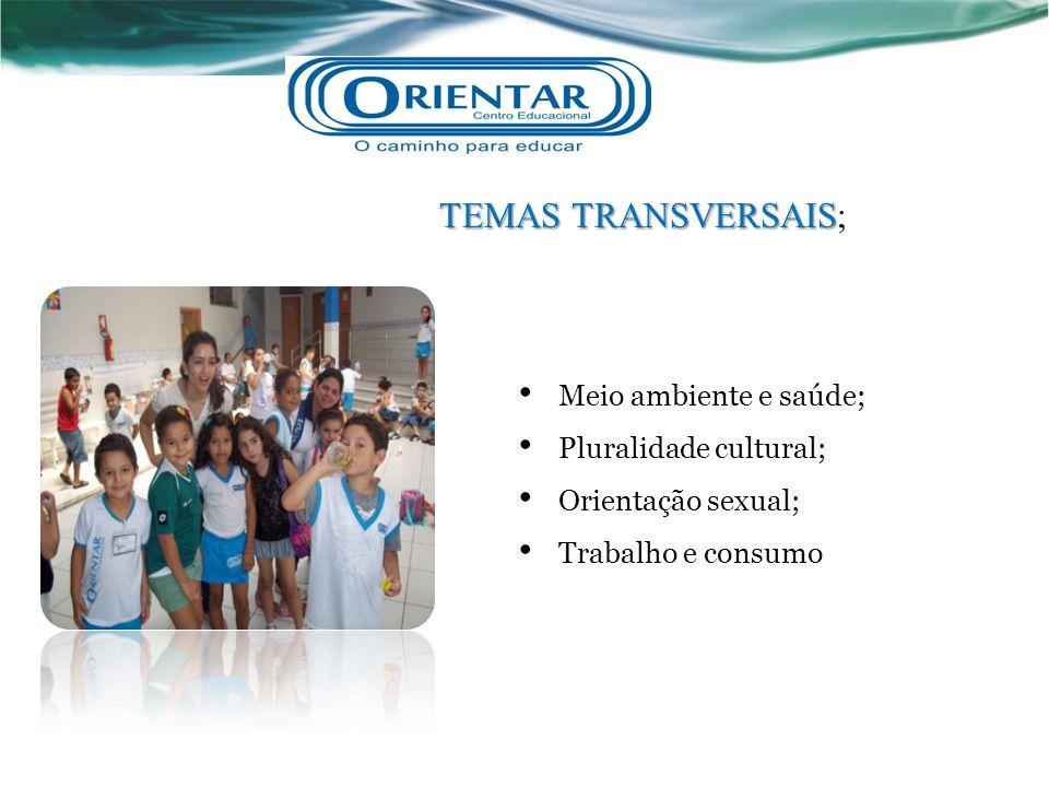 TEMAS TRANSVERSAIS TEMAS TRANSVERSAIS; Meio ambiente e saúde; Pluralidade cultural; Orientação sexual; Trabalho e consumo