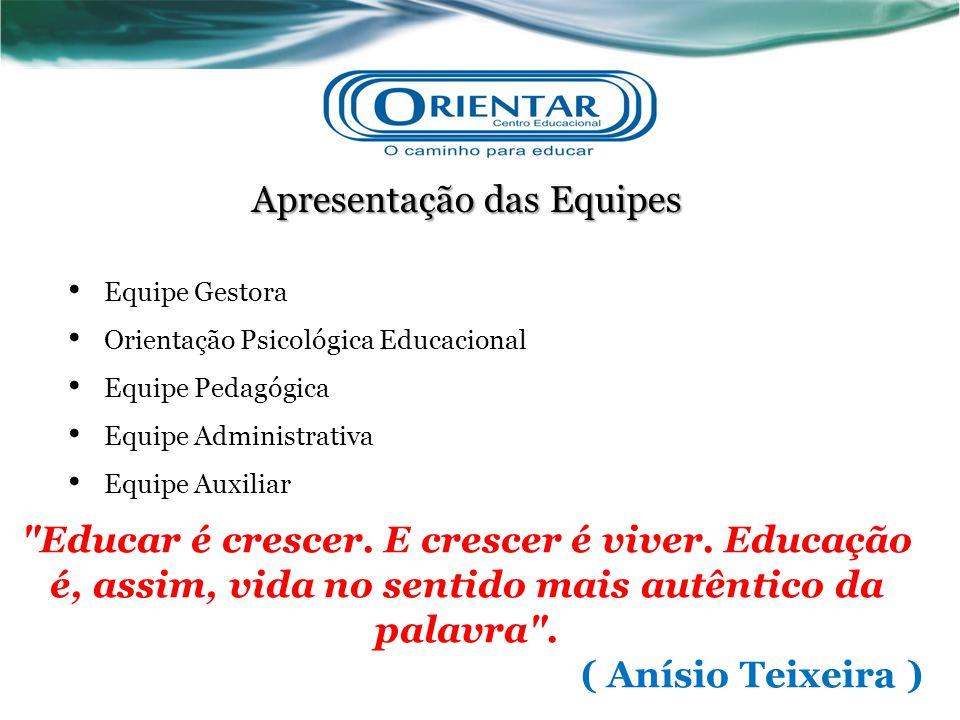 Apresentação das Equipes Equipe Gestora Orientação Psicológica Educacional Equipe Pedagógica Equipe Administrativa Equipe Auxiliar