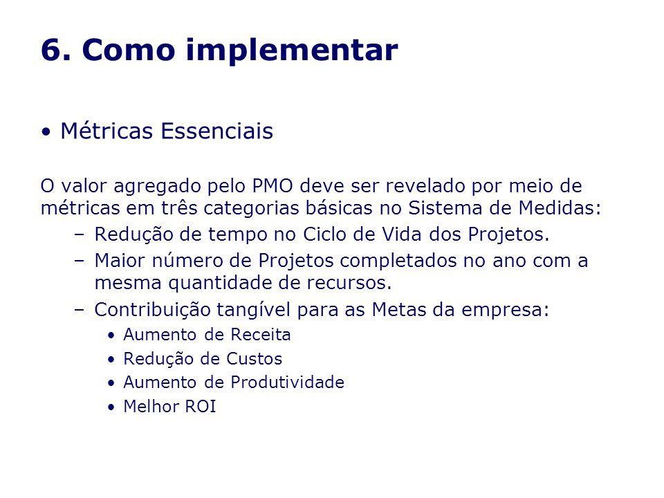 6. Como implementar Métricas Essenciais O valor agregado pelo PMO deve ser revelado por meio de métricas em três categorias básicas no Sistema de Medi