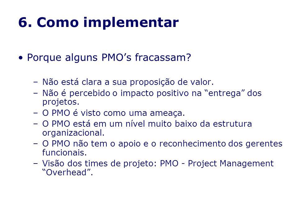 6. Como implementar Porque alguns PMOs fracassam? –Não está clara a sua proposição de valor. –Não é percebido o impacto positivo na entrega dos projet