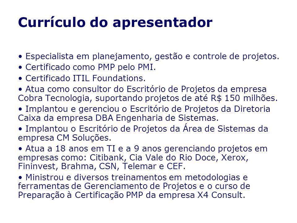 Currículo do apresentador Especialista em planejamento, gestão e controle de projetos. Certificado como PMP pelo PMI. Certificado ITIL Foundations. At