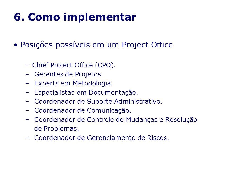 6. Como implementar Posições possíveis em um Project Office –Chief Project Office (CPO). – Gerentes de Projetos. – Experts em Metodologia. – Especiali