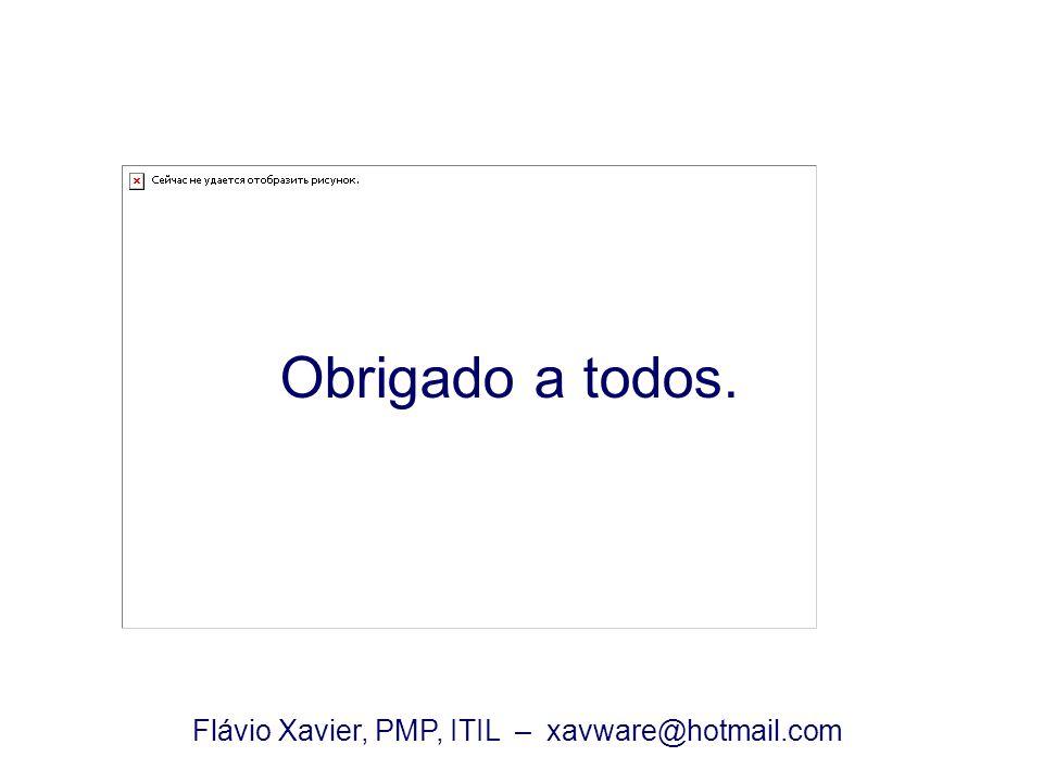 Obrigado a todos. Flávio Xavier, PMP, ITIL – xavware@hotmail.com
