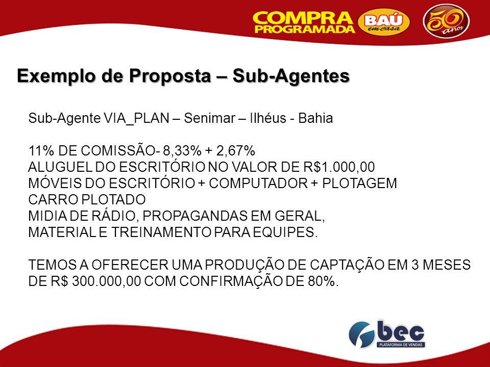 Exemplo de Proposta – Sub-Agentes Sub-Agente VIA_PLAN – Senimar – Ilhéus - Bahia 11% DE COMISSÃO- 8,33% + 2,67% ALUGUEL DO ESCRITÓRIO NO VALOR DE R$1.000,00 MÓVEIS DO ESCRITÓRIO + COMPUTADOR + PLOTAGEM CARRO PLOTADO MIDIA DE RÁDIO, PROPAGANDAS EM GERAL, MATERIAL E TREINAMENTO PARA EQUIPES.