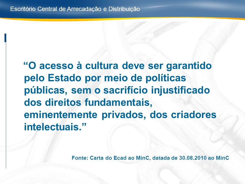 Escritório Central de Arrecadação e Distribuição O acesso à cultura deve ser garantido pelo Estado por meio de políticas públicas, sem o sacrifício in