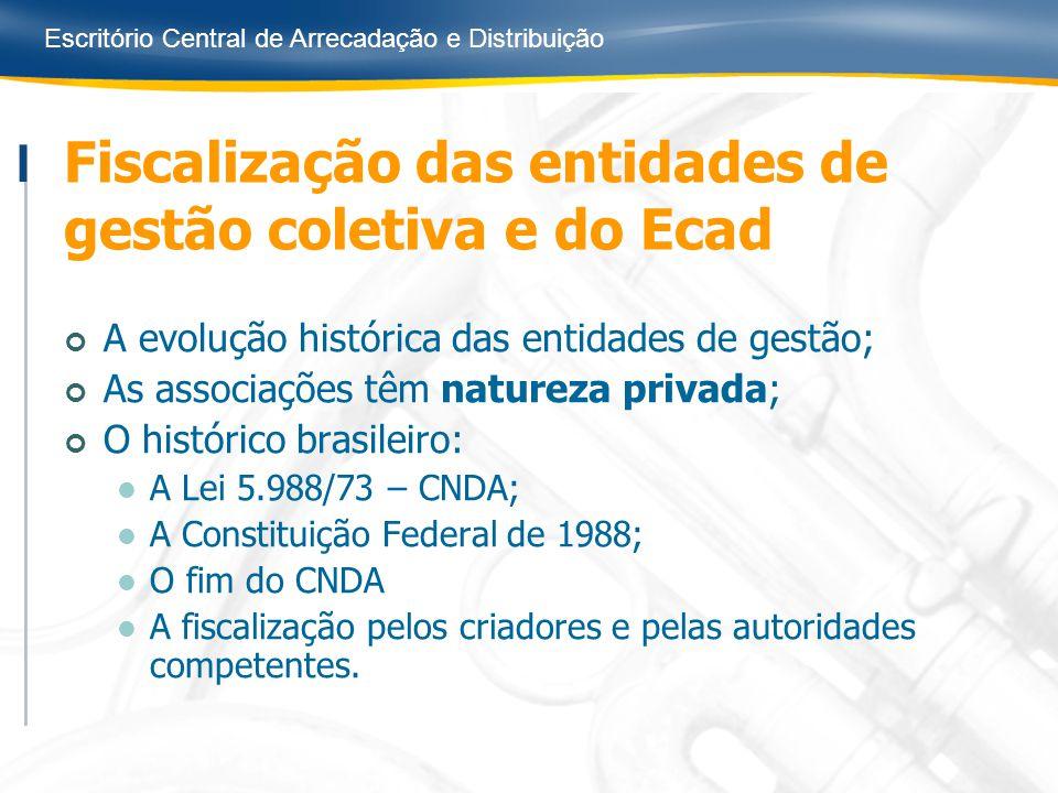 Escritório Central de Arrecadação e Distribuição Fiscalização das entidades de gestão coletiva e do Ecad A evolução histórica das entidades de gestão;