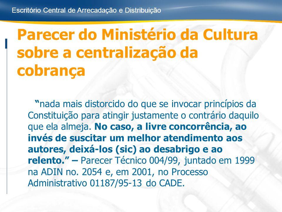 Escritório Central de Arrecadação e Distribuição Parecer do Ministério da Cultura sobre a centralização da cobrança nada mais distorcido do que se inv