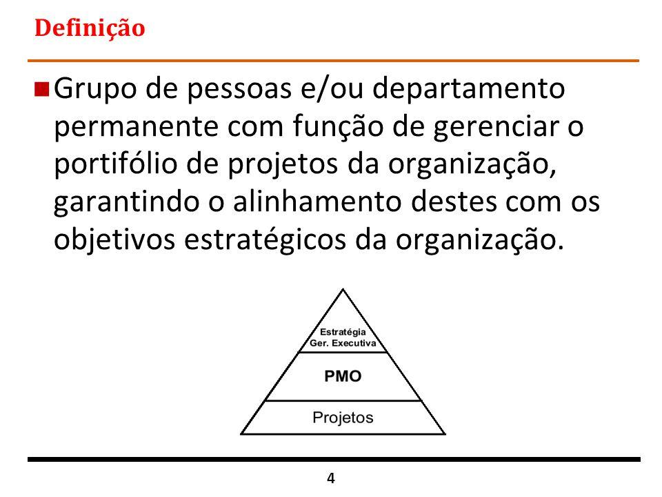 15 Gerenciamento de Portfólio e Programas Consiste no gerenciamento integrado dos diversos programas e projetos (externos e internos) em andamento numa organização visando estabelecer uma direção única para o alcance dos objetivos estratégicos e a garantia dos investimentos.