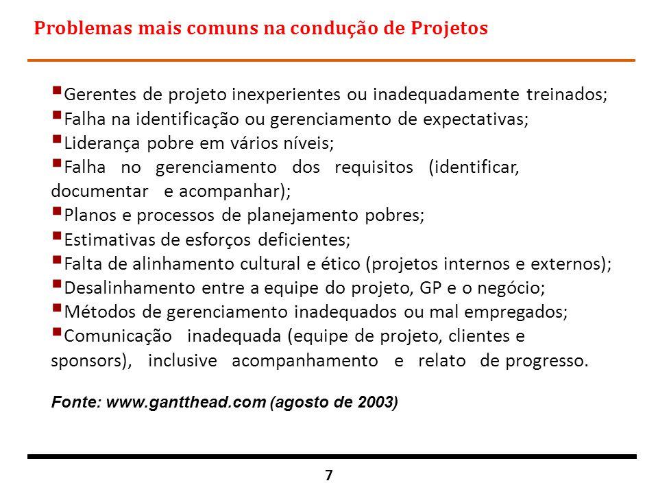 18 Gerência de Programas n Um grupo de projetos relacionados gerenciados de modo coordenado para a obtenção de benefícios e controle que não estariam disponíveis se eles fossem gerenciados individualmente.