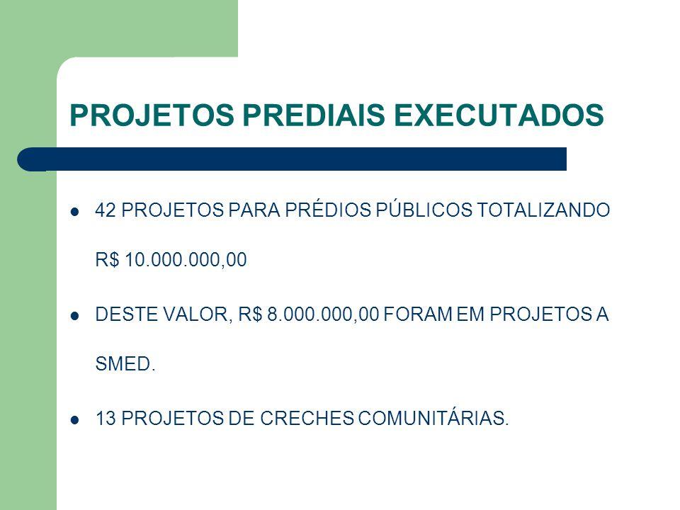 PROJETOS PREDIAIS EXECUTADOS 42 PROJETOS PARA PRÉDIOS PÚBLICOS TOTALIZANDO R$ 10.000.000,00 DESTE VALOR, R$ 8.000.000,00 FORAM EM PROJETOS A SMED. 13