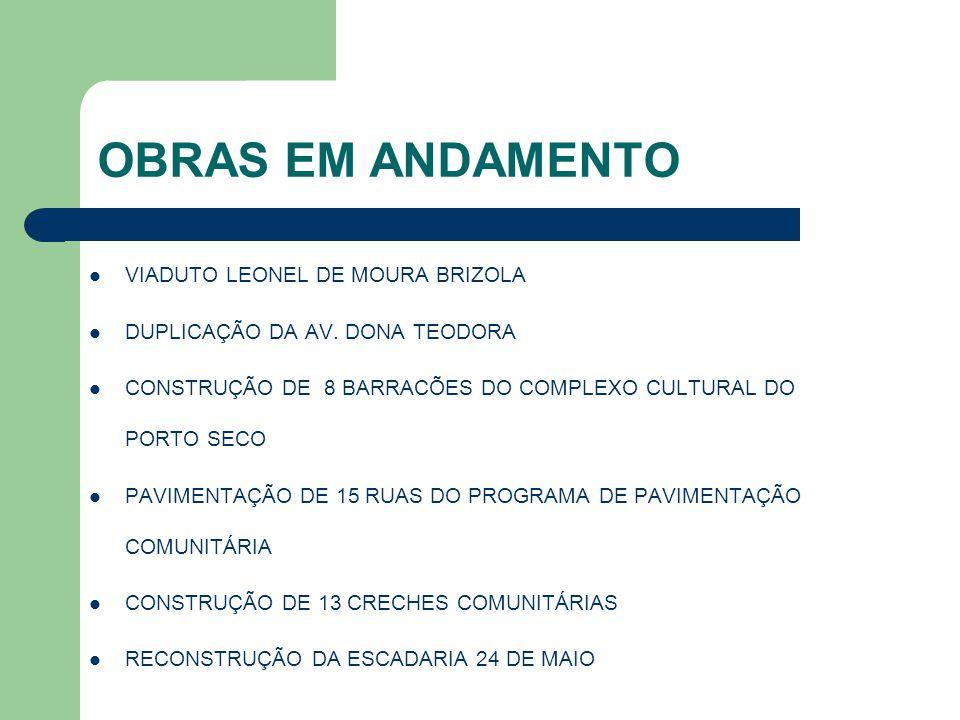 OBRAS EM ANDAMENTO VIADUTO LEONEL DE MOURA BRIZOLA DUPLICAÇÃO DA AV. DONA TEODORA CONSTRUÇÃO DE 8 BARRACÕES DO COMPLEXO CULTURAL DO PORTO SECO PAVIMEN