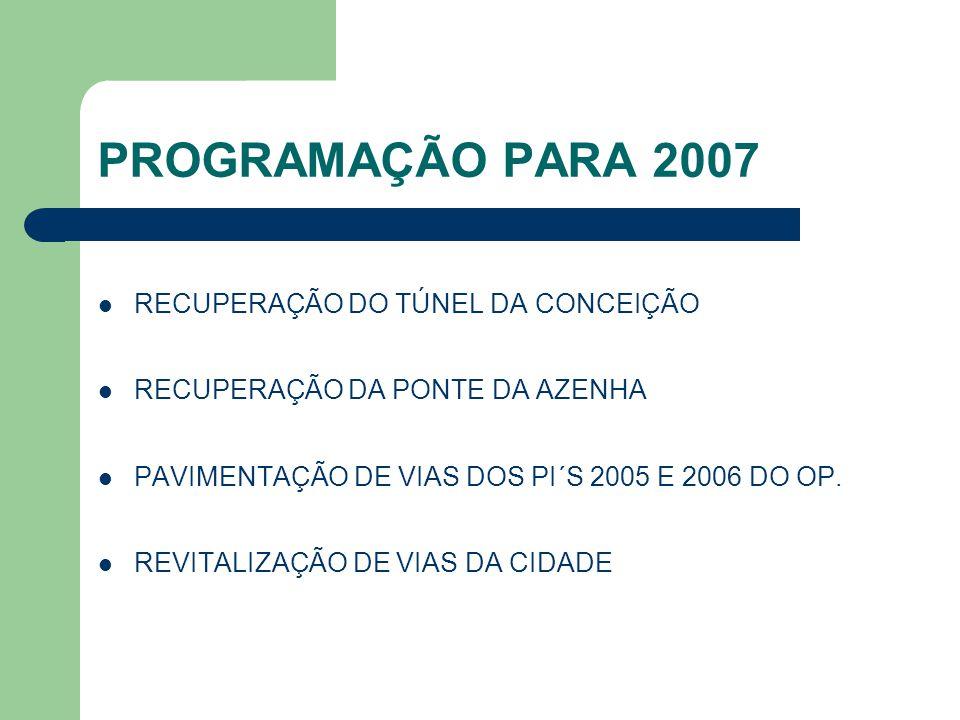 PROGRAMAÇÃO PARA 2007 RECUPERAÇÃO DO TÚNEL DA CONCEIÇÃO RECUPERAÇÃO DA PONTE DA AZENHA PAVIMENTAÇÃO DE VIAS DOS PI´S 2005 E 2006 DO OP. REVITALIZAÇÃO