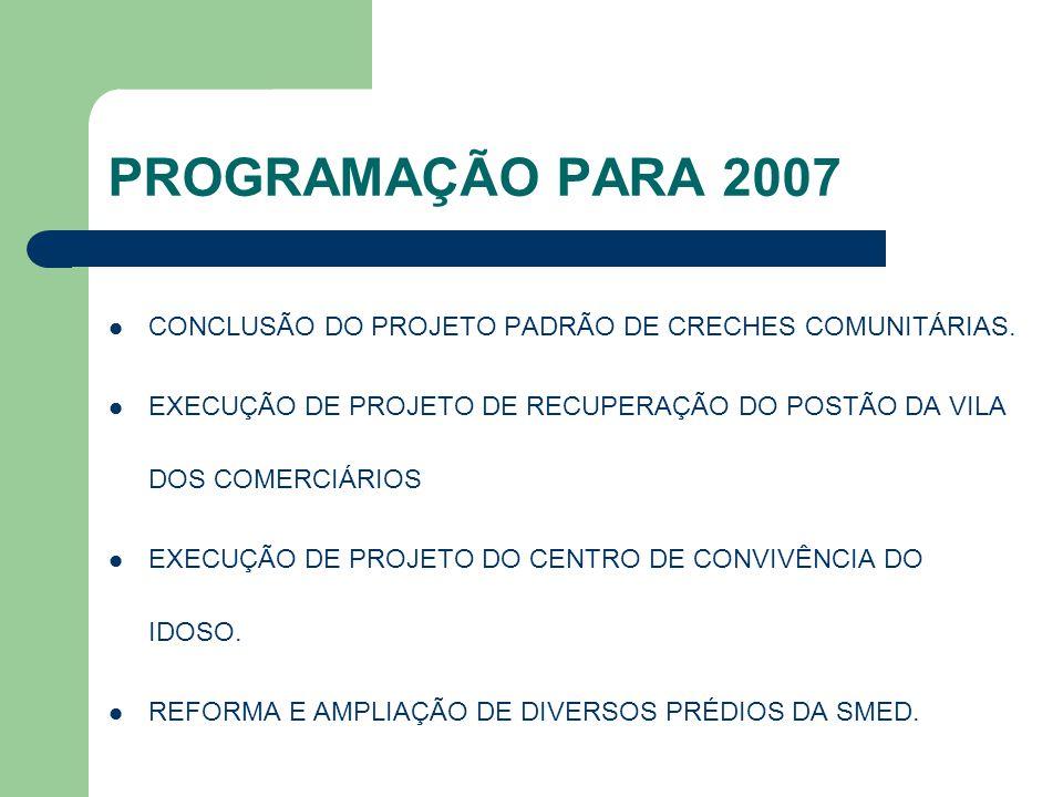 PROGRAMAÇÃO PARA 2007 CONCLUSÃO DO PROJETO PADRÃO DE CRECHES COMUNITÁRIAS. EXECUÇÃO DE PROJETO DE RECUPERAÇÃO DO POSTÃO DA VILA DOS COMERCIÁRIOS EXECU