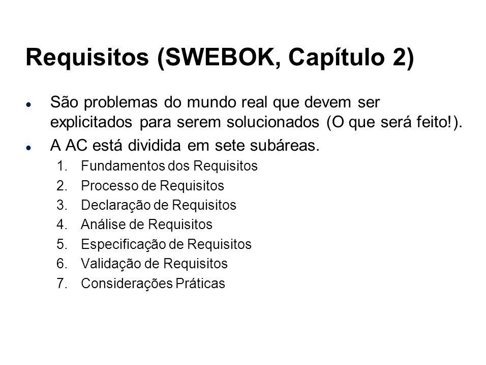 Requisitos (SWEBOK, Capítulo 2) l São problemas do mundo real que devem ser explicitados para serem solucionados (O que será feito!). l A AC está divi