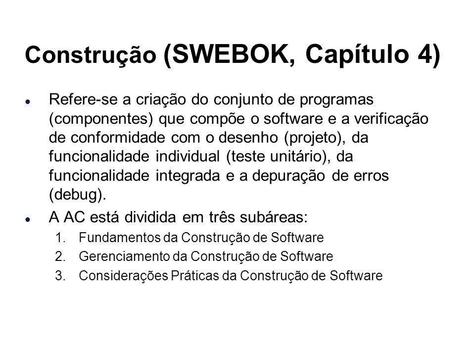 Construção (SWEBOK, Capítulo 4) l Refere-se a criação do conjunto de programas (componentes) que compõe o software e a verificação de conformidade com