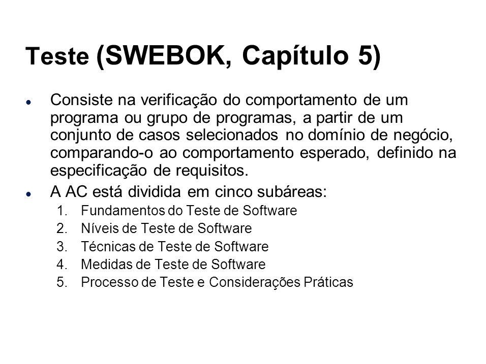 Teste (SWEBOK, Capítulo 5) l Consiste na verificação do comportamento de um programa ou grupo de programas, a partir de um conjunto de casos seleciona