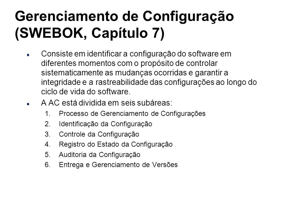 Gerenciamento de Configuração (SWEBOK, Capítulo 7) l Consiste em identificar a configuração do software em diferentes momentos com o propósito de cont
