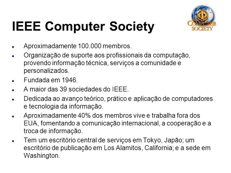 IEEE Computer Society l Aproximadamente 100.000 membros. l Organização de suporte aos profissionais da computação, provendo informação técnica, serviç