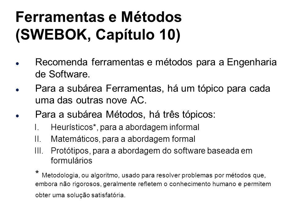 Ferramentas e Métodos (SWEBOK, Capítulo 10) l Recomenda ferramentas e métodos para a Engenharia de Software. l Para a subárea Ferramentas, há um tópic