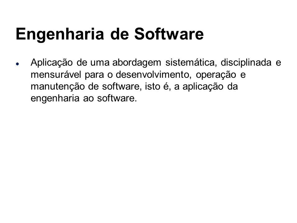 Engenharia de Software l Aplicação de uma abordagem sistemática, disciplinada e mensurável para o desenvolvimento, operação e manutenção de software,