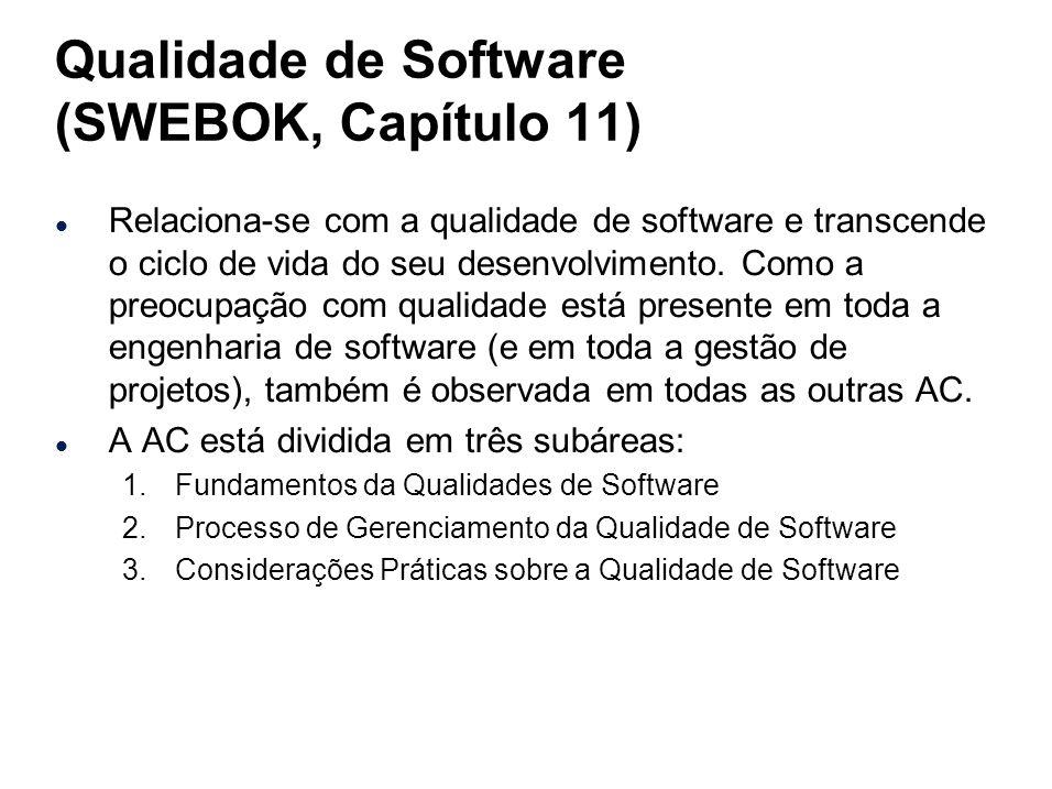 Qualidade de Software (SWEBOK, Capítulo 11) l Relaciona-se com a qualidade de software e transcende o ciclo de vida do seu desenvolvimento. Como a pre