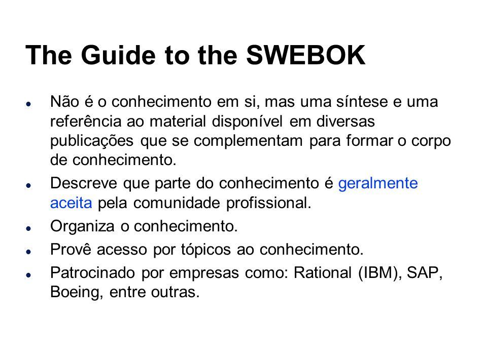 The Guide to the SWEBOK l Não é o conhecimento em si, mas uma síntese e uma referência ao material disponível em diversas publicações que se complemen